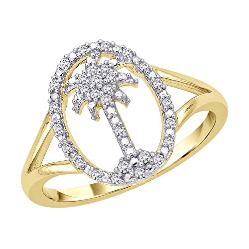 KATARINA Diamond Palm Tree in Oval Ring in 14K Yellow Gold 1 8 cttw Color-GH, Clarity-I2 I3