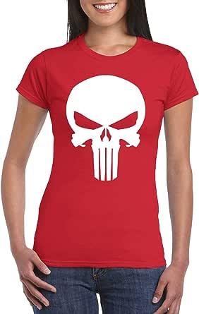 Red Female Gildan Short Sleeve T-Shirt - The Punisher Skull design