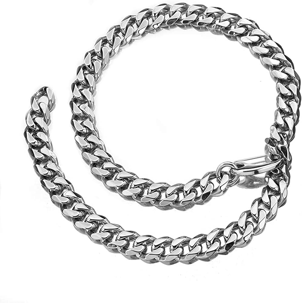 MUYING JEWELRY Mens Unisexs 12//15//17//19MM Stainless Steel Silver Tone Hip Hop Xxxtentacion Heavy Thick Choker Collar Curb Cuban Link Chain Rapper Necklace