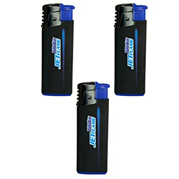 3 Pack Turbo Blue Refillable Jet Flame Lighter - Powerful Windproof Flame
