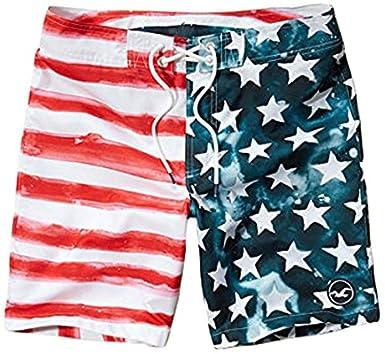 a5e37f2d7a6 HOLLISTER Co. ホリスター Americana Classic Fit Boardshort ボードショーツ 星条旗 WHITE  PRINT 333-340