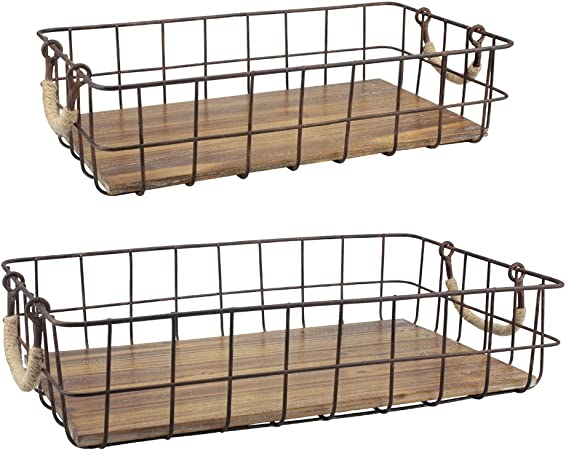 Stonebriar Stackable 10pc Rectangle Metal Wire and Wood Basket Set with Rope  Wrapped Handles, Rustic Decor for Home Storage, Decorative Serving Baskets
