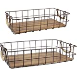 Stonebriar Stackable 2pc Rectangle Metal Wire and Wood Basket Set with Rope Wrapped Handles, Rustic Decor for Home Storage, Decorative Serving Baskets for Weddings, Birthdays, and Holiday Parties