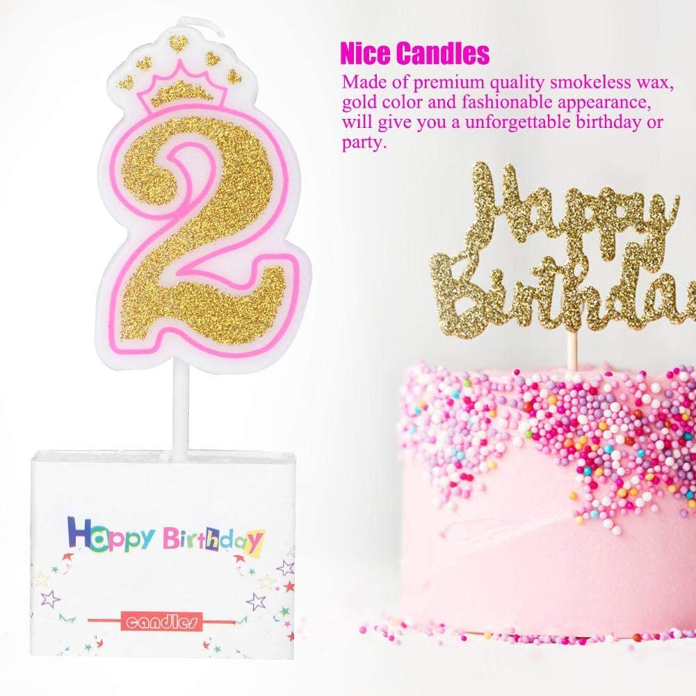 2 New Girls Kids Birthday Candle Party Crown Smoke Free Cake Candles Numbers Age 0-8 Cake Topper Decoration