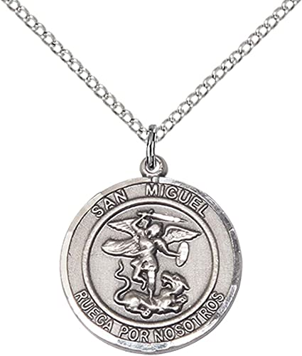 F A Dumont 14kt Gold Filled St Michael The Archangel Pendant with 18 Gold Filled Lite Curb Chain Patron Saint of Police Officers//EMTs