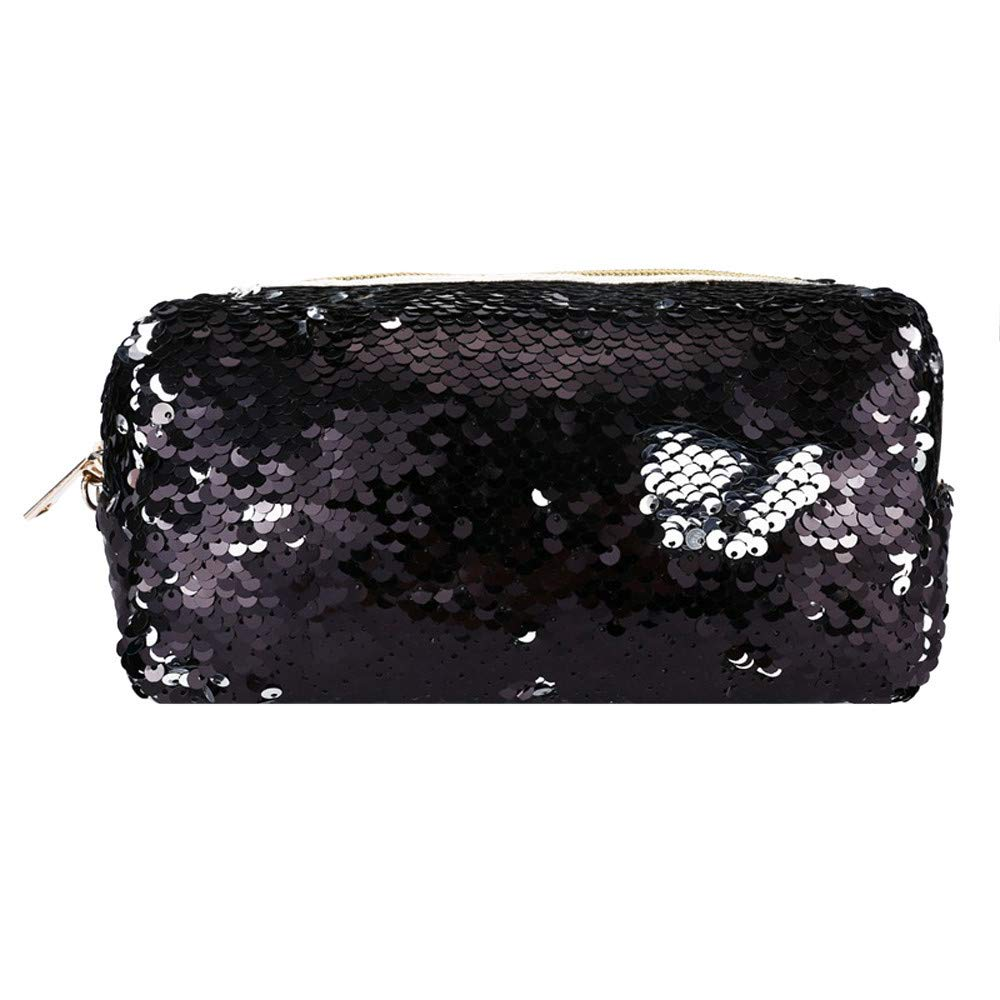 Pencil Case Box For Girls Women Girls Fashion Double Color Sequins Pen Bag Storage Bag Ladies Purse Pouch Arts Crafts /& Sewing Black Corduroy With Glitter