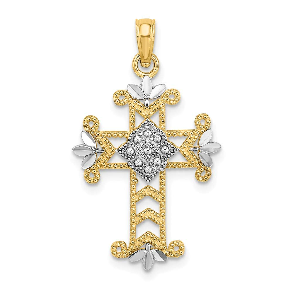 14k Yellow Gold Rh Beaded Cross Religious Pendant Charm Necklace Fleur De Lis Fine Jewelry Gifts For Women For Her