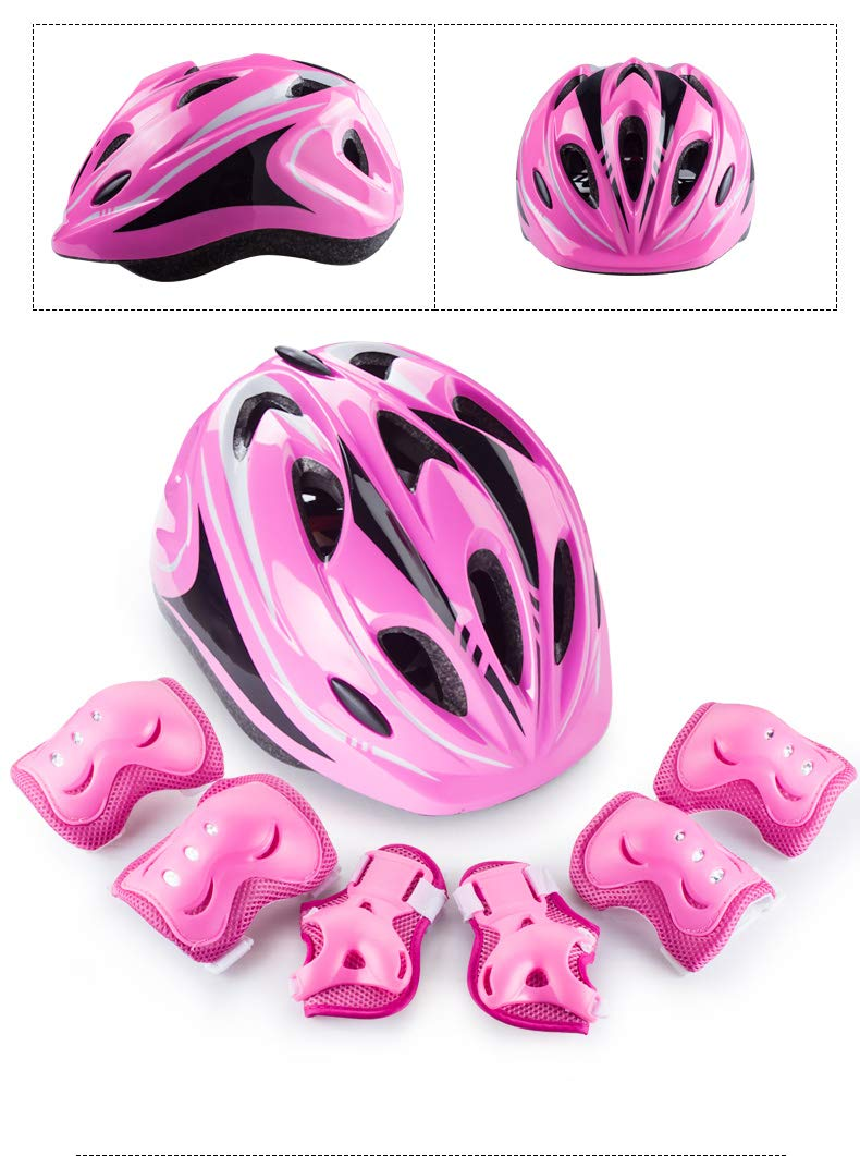 XWB Children Helmet and Knee Pads Elbow Wrist Guard Sport Protective Gear for Cycling Skating Skiing Adjustable for Kids 6 to 12 Years Old