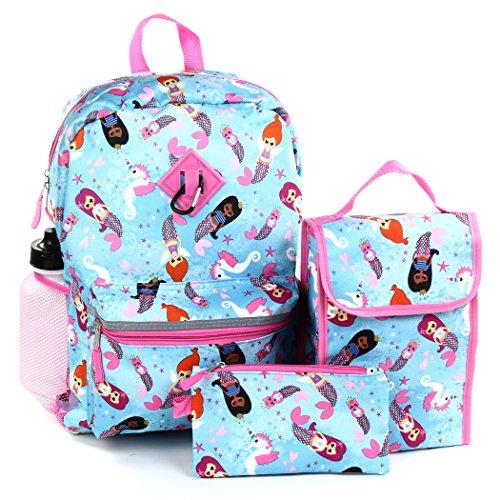 Girls Confetti 5 Piece Backpack Set. BackPack, Lunch Bag, Pencil Case, Water Bottle, Carabiner Clip (Mermaid Seahorse) Kids/Teens/Girls