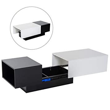 Coffee Table With Sliding Top Storage.Homcom Modern Coffee Table Storage Unit Living Room With Sliding Top Black And White