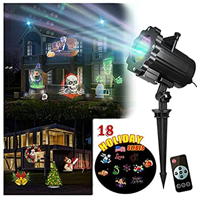 Zeonetak Projector Light 18 Patterns Interchangeable Led Halloween Christmas Lights Valentine's Day Birthday Wedding Party New Year Independence Day Home Decor
