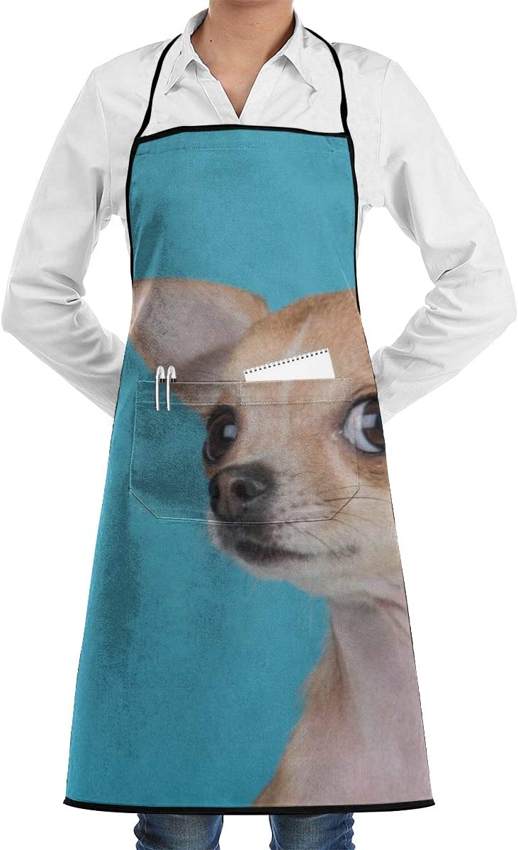 Vicrunning Lonely Pets Aprons Bib for Mens Womens Short Lace Adjustable Adult Kitchen Waiter Aprons with Pockets