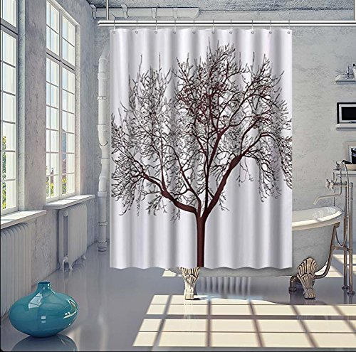 WoneNice Mold Resistant Fabric Shower Curtain with Tree Background Design,Waterproof/Water-Repellent & Antibacterial,72x72 Inches, White & Black by WoneNice