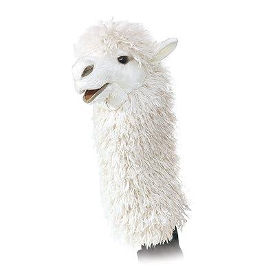 Folkmanis Alpaca Stage Puppet, White (2885): Toys & Games