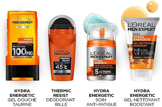 LOréal Men Expert Coffret Fête des Pères Hydra Energetic 4 Produits: Amazon.es: Belleza