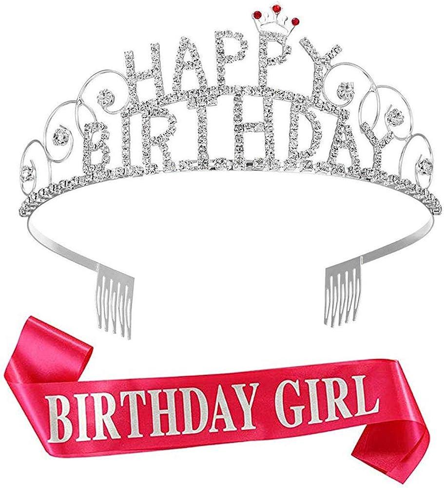 Frcolor Happy Birthday Tiara Geburtstag Kristall Strass Krone Hochzeit Haar...