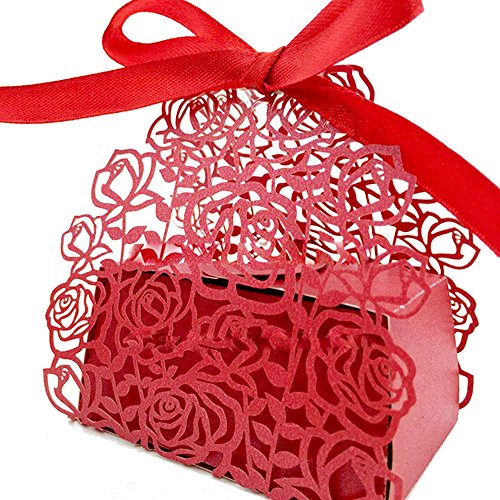 WOMHOPE® 50 Pcs - Roses Flowers Wedding Candy Box Chocola...