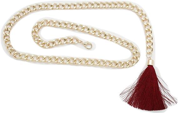 Bling Women Gold Metal Chain Chunky Links Trendy Belt Burgundy Red Tassel XS S M
