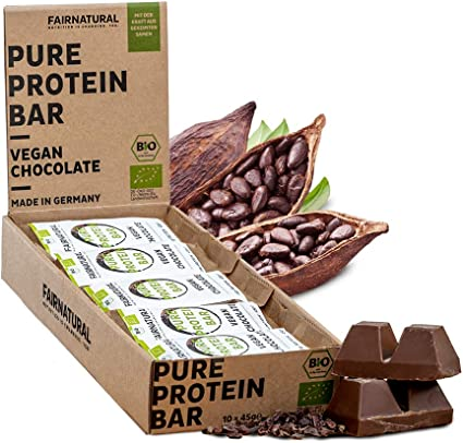 ORGANICA Barritas Proteína Chocolate Vegana [de Alemania] Barras de Proteína vegetal sin soja, azúcar añadido o suero de leche con semillas germinadas ...