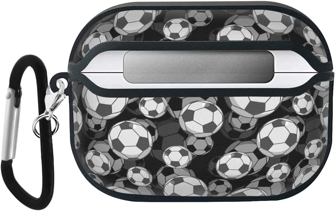 Luxury Classic Elegant PU Leather Protective Shockproof Cover Case Compatible with AirPods Pro Football Soccer Balls Illustration