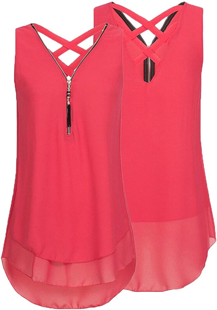 Chanyuhui Shirt Women Loose Sleeveless Tank Tops Cross Back Hem Layed Zipper T Shirts V-Neck Sleeveless Tank Tops Under 5