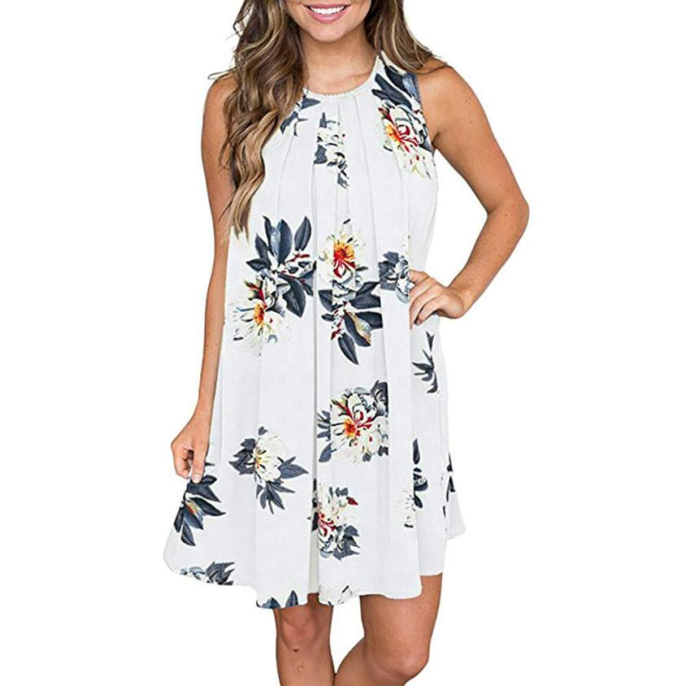 MBSDDH Dress Summer Beach Women Floral Printed O Neck Shift Keyhole Back Lady Sleeveless Dress