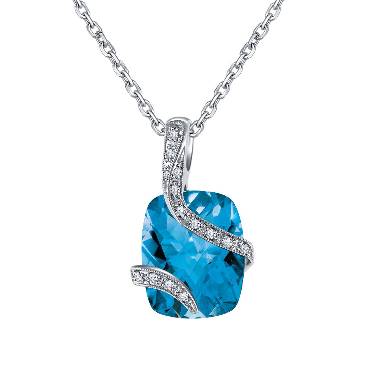 Ringjewels 0.12 Ct Cushion Blue Topaz /& Sim Diamond Halo Pendant with 18 Chain in 14K White Gold Plated
