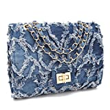 MKY Lightweight Quilted Flap Crossbody Bag Chain Shoulder Strap Travel Purse Light Blue Denim