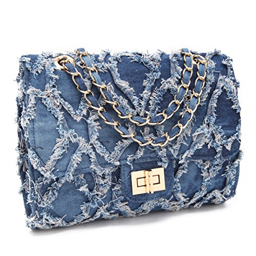 MKY Lightweight Quilted Flap Crossbody Bag Chain Shoulder Strap Travel Purse Light Blue (Denim Purse Blue Jean)