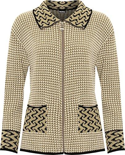 WearAll Women's Plus Womens Long Sleeve Knitted Cardigan Ladies Zip Pocket Leopard Collar Jumper Jacket 16-26