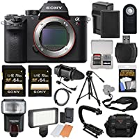 Sony Alpha A7R II 4K Wi-Fi Digital Camera Body with (2x) 64GB Cards + Battery & Charger + Case + Flash + LED + Microphone + Tripod + Kit