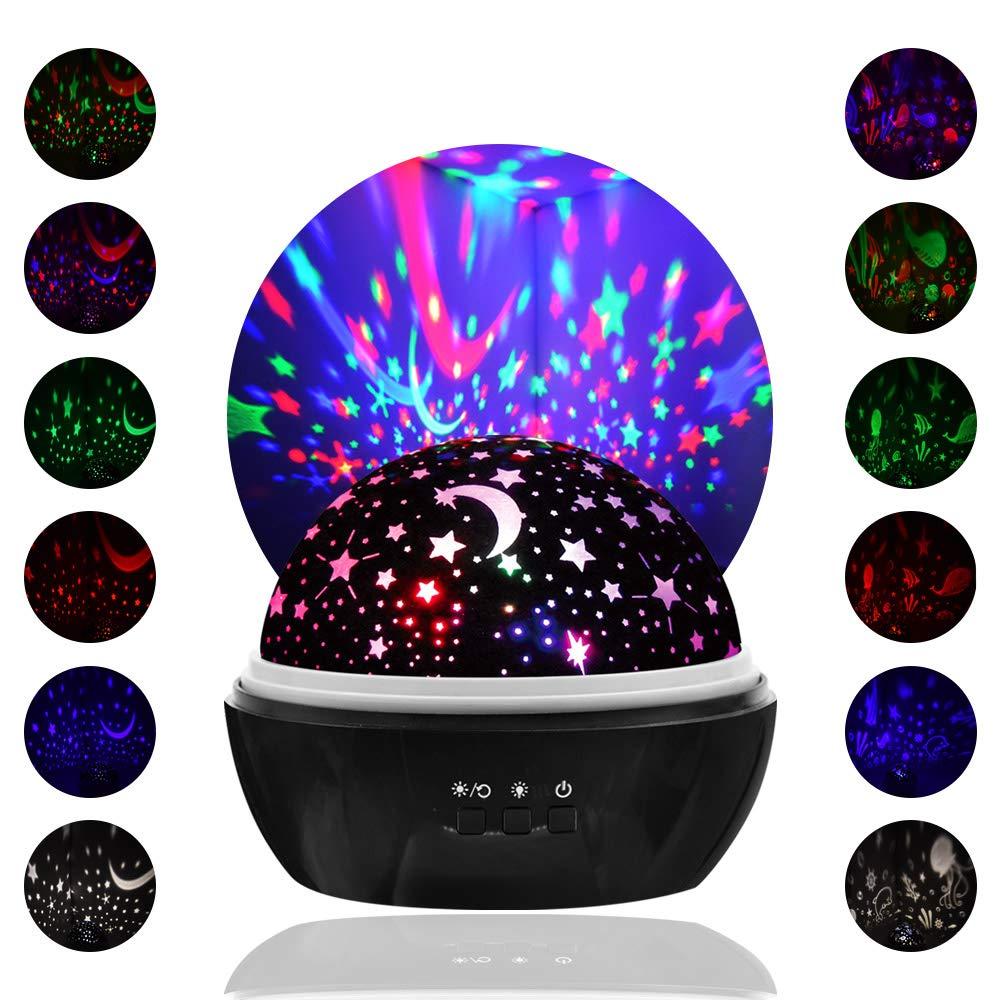 LOBKIN Star Light proyector giratorio, colores múltiples Baby Night Light con 8 colores Opciones Best Night Lights para niños adultos y decoración infantil Botón actualizado encendido/apagado (azul) [Clase de eficiencia energética A+++]