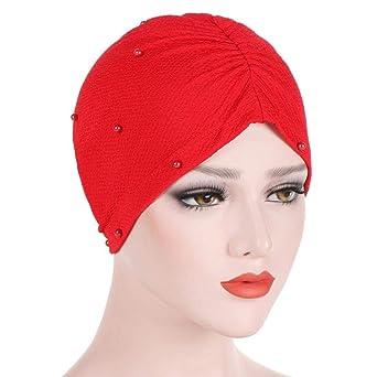 Longra Femmes Perlage Inde Chapeau Musulman Ébouriffer Casquette Réglable  Casquettes Cancer Chimio Bonnet Écharpe Turban Casquette Chapeaux  CasualTête ... f9a1cf1f6f1