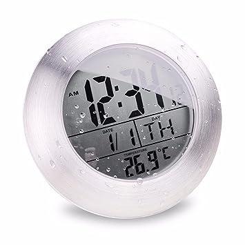 Jinhong Waterproof Digital Horloge murale de salle de bain ventouse ...