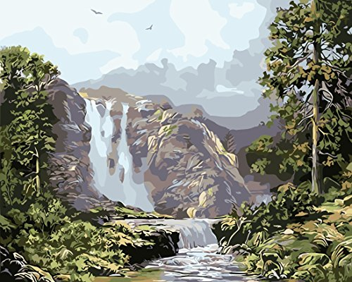 Diy Oil Painting, Paint by Number kit Mountain Waterfall 16x20 inch [Wooden Frames need to be installed] By Prime Leader