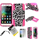 For Huawei Raven LTE H892L ITUFFY 3items: Screen Film+Stylus Pen+Dual Layer Impact Resistance Plastic Cover Soft Rubber KickStand Hybrid Case (Pink Leopard)