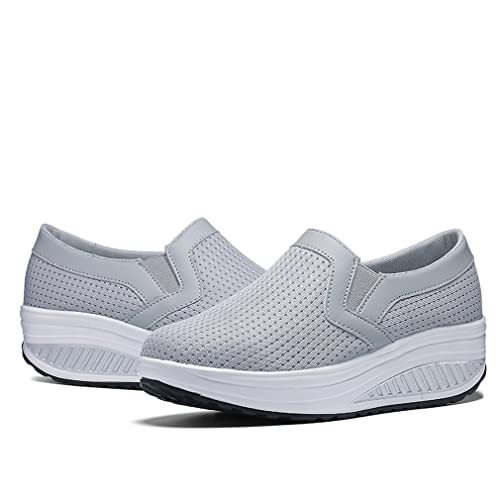 519a4ddc71c78 XMeden Ladies Slip On Platform Trainers Womens Shape Up Shoes Walking  Fitness Toning Wedge Trainers