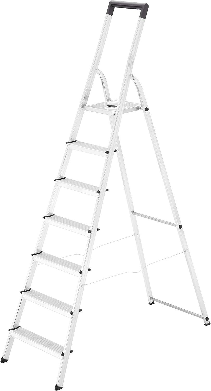 Hailo L40 - Escalera doméstica de aluminio, travesaño de seguridad con gancho para cubo (7 peldaños): Amazon.es: Bricolaje y herramientas