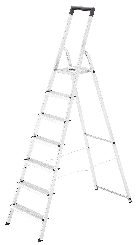 Escalera dom/éstica de aluminio 5 pelda/ños Hailo L40 travesa/ño de seguridad con gancho para cubo