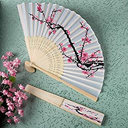 Cherry Blossom Design Silk Folding Fans (Set of 48)