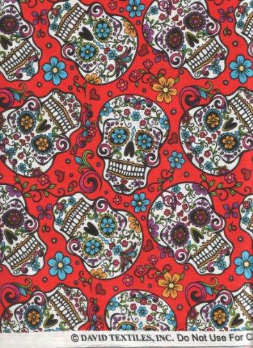 Quilt Fabric Folk Art (David Textiles Fabric Fun Folk Folkloric Art Skull Fabric DT-2888-2C Sugar Skulls Skull Tattoo Quilt Fabric 100% Cotton 45