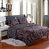 Melody House Hotel Quality Microfiber Reversible Duvet Cover Set Floral Purple Pattern Twin 2 Piece Includes 1 Pillow Sham