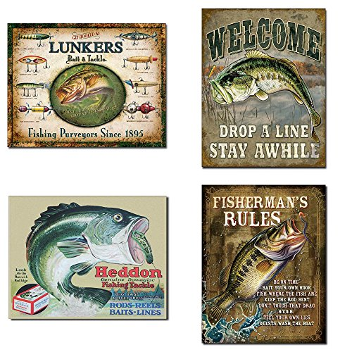 - Vintage Decorative Fishing Tin Sign Bundle - Lunker's Lures Bait and Tackle, Welcome Bass Fishing, Heddon Frogs, Fisherman's Rules