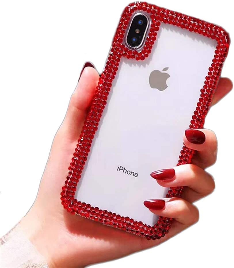 Jesiya for iPhone XR Case 3D Glitter Sparkle Bling Case Luxury Shiny Crystal Rhinestone Diamond Bumper Clear Protective Case Cover for iPhone XR Red