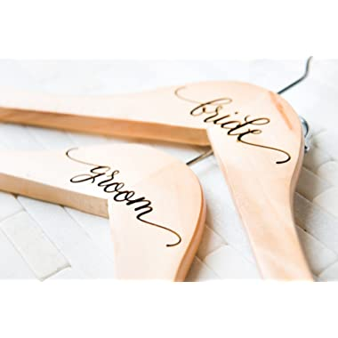 Bride and Groom Hangers Wedding Gift for the Couple Dress Suit Jacket Bridesmaid Maid of Honor Engraved Personalized Wood Quick Ship