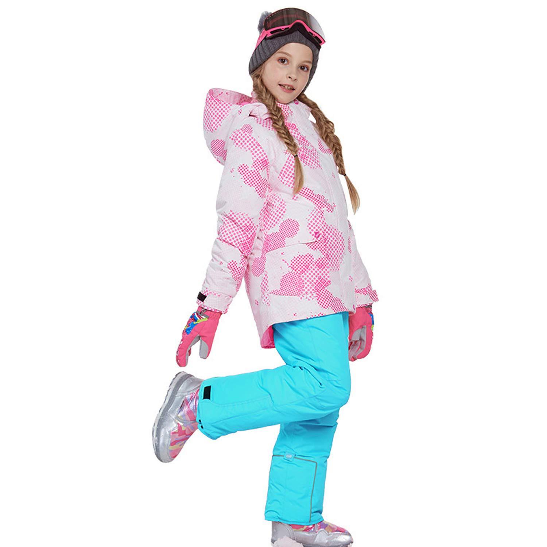スノーボードウェア 上下セット キッズ 上下着 スキーウェア アウトドアジャケット コート 子ども 男の子 女の子 男女兼用 保温 撥水加工 スキー 釣り用 登山 (81817+シアン, 120(身長115cm-120cm))