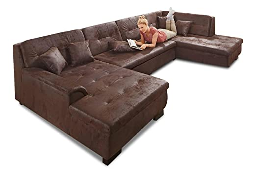 Sofa Couch Wohnlandschaft Frisana Braun Amazon De Kuche Haushalt