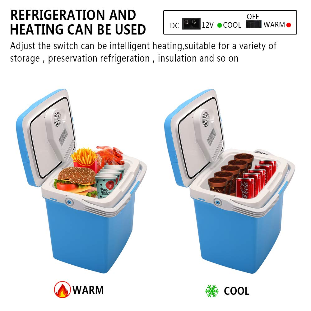 ZOKOP Electric Portable Fridge, Cooler & Warmer Refrigerator (26L) AC 120V/DC 12V Thermoelectric System, for Home, Office, Car, Picnic, Camping, Outdoor (Blue) by OLYM STORE (Image #3)