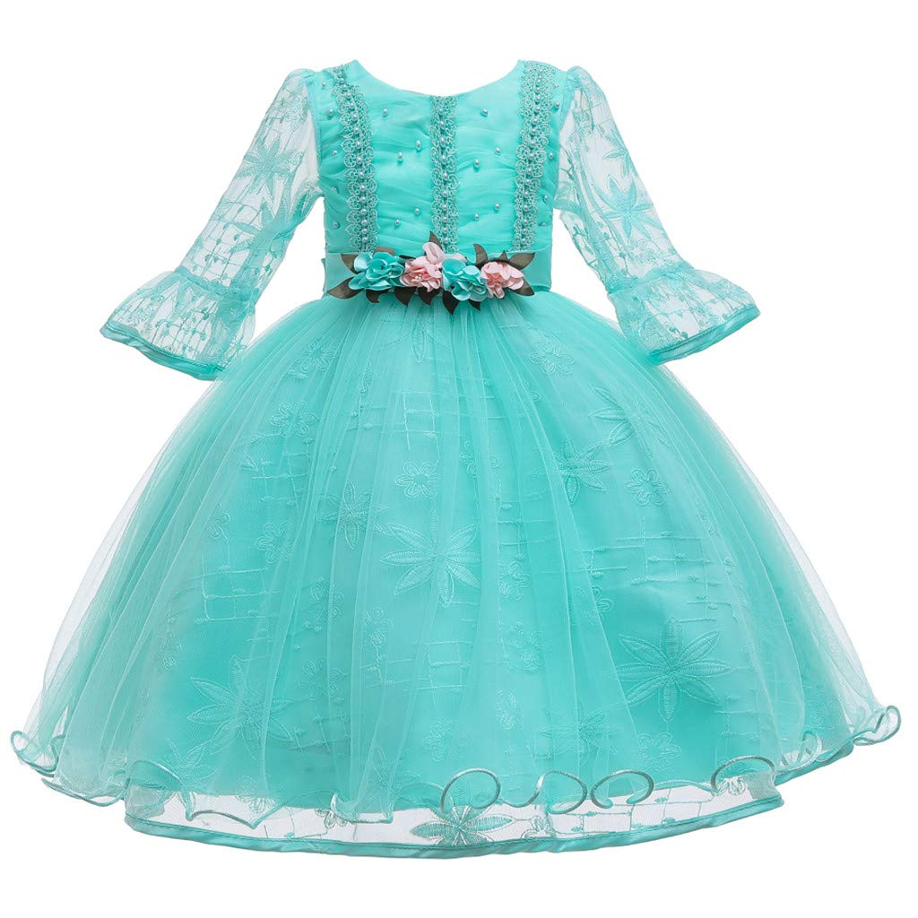 Children Girls Princess Dress Teens Vintage Tulle Dance Gown Lace Long Sleeves Elegant Party Evening Dresses (Age:11-12 Years, Sky Blue) by FDSD Baby Clothes