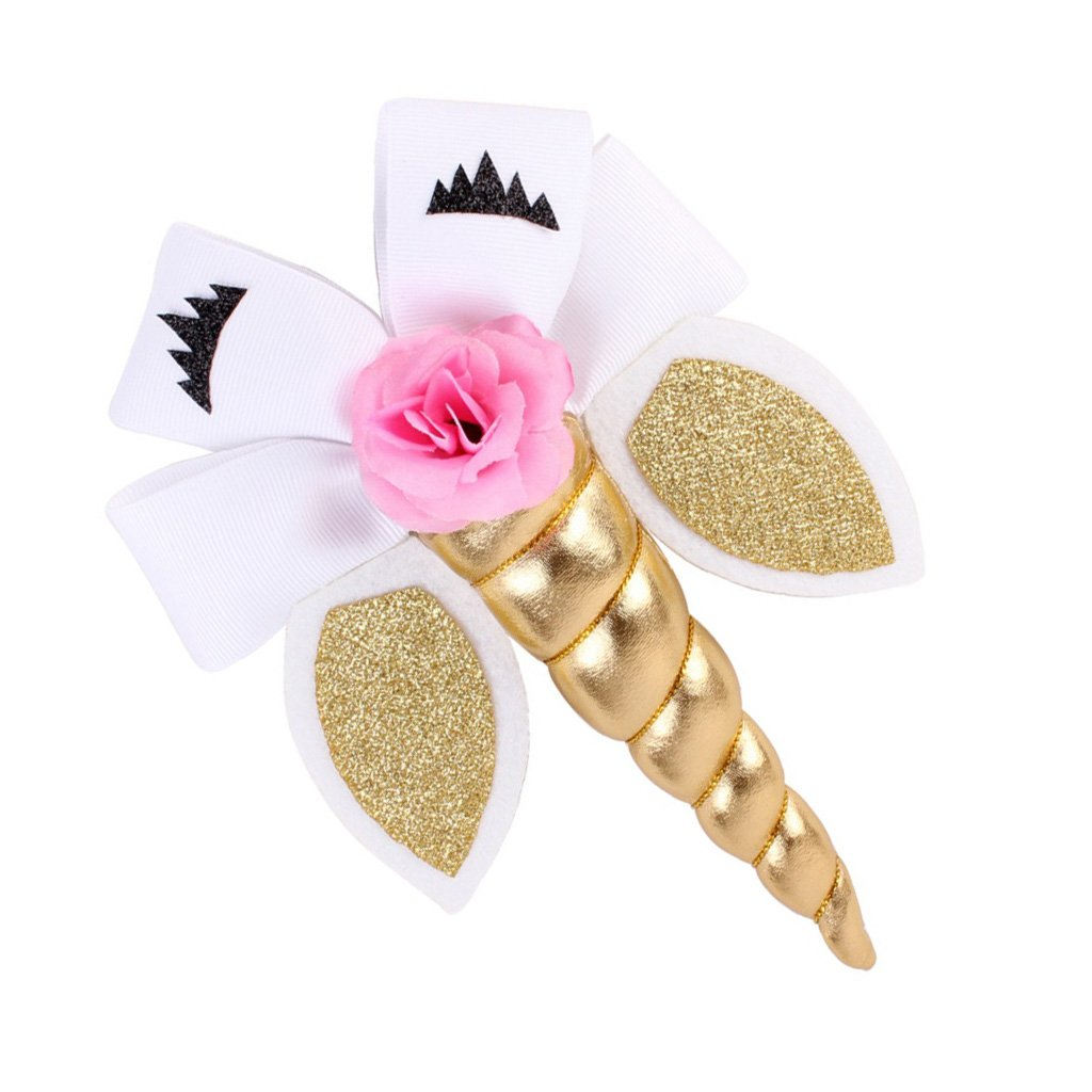 Baby Mädchen Einhorn Haarspange Katzenaugen Haarschmuck mit Schleife Blumen